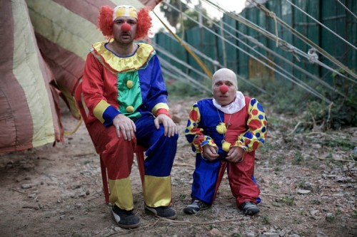 Karl and Warwick as clowns